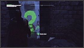 Just like with the 5th riddle, you have to approach the question mark #1 and press A to destroy the fragile wall fragment - Enigma Conundrum (riddles 1-9) - Side missions - Batman: Arkham City - Game Guide and Walkthrough