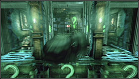 Turn off the Detective Mode, throw a Batarang into the question mark below the left dome #1 and jump towards the platform on which the domes were #2 - Enigma Conundrum (riddles 1-9) | Side missions - Side missions - Batman: Arkham City Game Guide