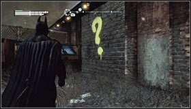 Note that a new point has appeared on the Arkham City map #1 - Enigma Conundrum (riddles 10-15) | Side missions - Side missions - Batman: Arkham City Game Guide