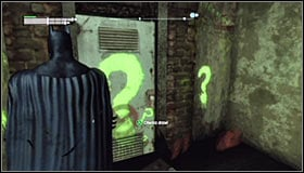 Just like with the previous riddles, you need to approach the question mark #1 and press A to destruct the fragile wall fragment - Enigma Conundrum (riddles 10-15) | Side missions - Side missions - Batman: Arkham City Game Guide