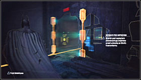 The goal in this puzzle is placing the steel platform on the interactive plate #1 and therefore turn off the barrier blocking access to the hostage #2 - Enigma Conundrum (riddles 10-15) | Side missions - Side missions - Batman: Arkham City Game Guide