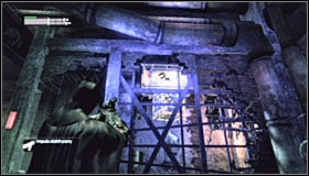 Now aim at the upper magnet #1 and send a charge to move the platform towards it #2 - Enigma Conundrum (riddles 10-15) | Side missions - Side missions - Batman: Arkham City Game Guide