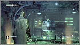 The next safe spot is the orange plate at the end of the upper platform #1 - Enigma Conundrum (riddles 10-15) - Side missions - Batman: Arkham City - Game Guide and Walkthrough