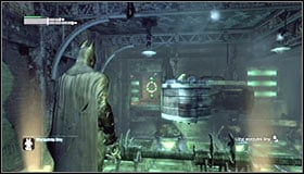 The next safe spot is the orange plate at the end of the upper platform #1 - Enigma Conundrum (riddles 10-15) | Side missions - Side missions - Batman: Arkham City Game Guide
