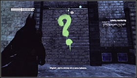 Note that a new point has appeared on the Arkham City map #1 - Enigma Conundrum (riddles 16-17) | Side missions - Side missions - Batman: Arkham City Game Guide