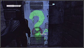 Just like before, you need to approach the question mark #1 and press A to destroy the fragile wall fragment - Enigma Conundrum (riddles 16-17) | Side missions - Side missions - Batman: Arkham City Game Guide