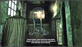 Go up and note that there are steel pallets and a destructible wall behind the barrier #1 - Enigma Conundrum (riddles 16-17) | Side missions - Side missions - Batman: Arkham City Game Guide