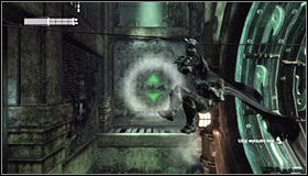 Once again equip the Line Launcher, and aim at the wall at the end of the corridor with working machinery #1 - Enigma Conundrum (riddles 16-17) | Side missions - Side missions - Batman: Arkham City Game Guide