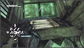Land on the new ledge and use the Grapnel Gun to reach the passage you have opened by solving the hacking mini-game #1 - Enigma Conundrum (riddles 16-17) | Side missions - Side missions - Batman: Arkham City Game Guide