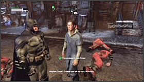 Try to attack the enemies from above if possible and afterwards eliminate the others in direct combat #1 - Acts of Violence | Side missions - Side missions - Batman: Arkham City Game Guide
