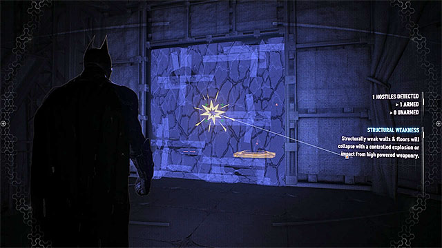Locate the weakened wall and use the explosive gel on it - Riddler trophies in the Panessa Studios (1-10) | Collectibles - Pannesa Film Studios - Collectibles - Pannesa Film Studios - Batman: Arkham Knight Game Guide & Walkthrough