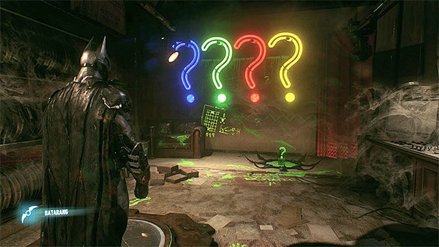 The right combination of the colors of the question marks - Riddler trophies in the Panessa Studios (1-10) | Collectibles - Pannesa Film Studios - Collectibles - Pannesa Film Studios - Batman: Arkham Knight Game Guide & Walkthrough