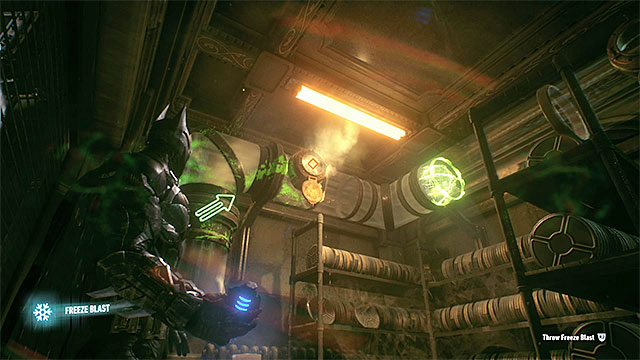 Throw the grenade at pipes from which the steam is coming out - Riddler trophies in the Panessa Studios (11-21) | Collectibles - Pannesa Film Studios - Collectibles - Pannesa Film Studios - Batman: Arkham Knight Game Guide & Walkthrough