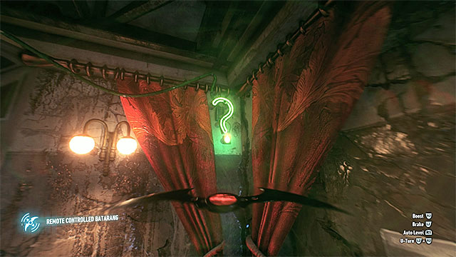 The question mark that you need to hit with the batarang - Riddler trophies in the Panessa Studios (11-21) | Collectibles - Pannesa Film Studios - Collectibles - Pannesa Film Studios - Batman: Arkham Knight Game Guide & Walkthrough
