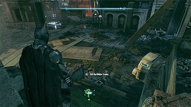 The place where you will find the trophy (its hard to miss) - Riddler trophies on Founders Island (17-33) | Collectibles - Founders Island - Collectibles - Founders Island - Batman: Arkham Knight Game Guide & Walkthrough