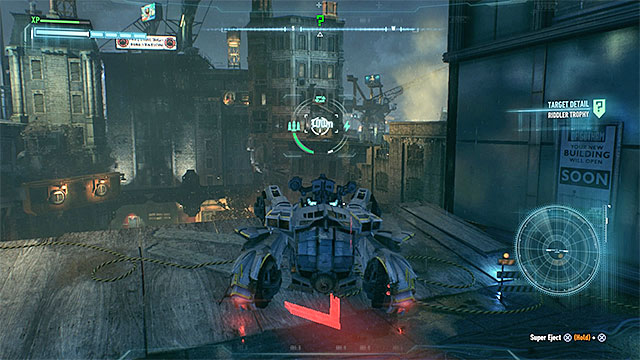Destroy the weakened wall from distance with the use of Batmobile - Riddler trophies on Founders Island (17-33) | Collectibles - Founders Island - Collectibles - Founders Island - Batman: Arkham Knight Game Guide & Walkthrough