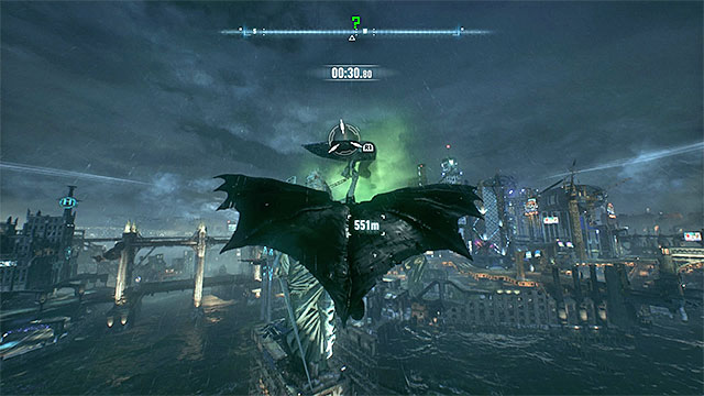 Use the hook launcher on, among other objects, the Lady of Gotham statue - Riddler trophies on Founders Island (17-33) | Collectibles - Founders Island - Collectibles - Founders Island - Batman: Arkham Knight Game Guide & Walkthrough