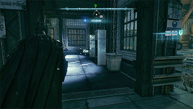 Explore the inside of the small building in the port - Riddler trophies on Founders Island (17-33) | Collectibles - Founders Island - Collectibles - Founders Island - Batman: Arkham Knight Game Guide & Walkthrough