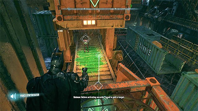 Send the robots under the container and then crush them by hitting the question mark with the batarang - Riddler trophies on Founders Island (17-33) | Collectibles - Founders Island - Collectibles - Founders Island - Batman: Arkham Knight Game Guide & Walkthrough