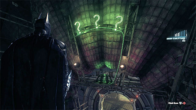 Throw batarangs at the question marks - Riddler trophies in the Stagg Airships (1-10) | Collectibles - Stagg Airships - Collectibles - Stagg Airships - Batman: Arkham Knight Game Guide & Walkthrough