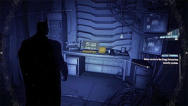 Open the cells using the computer at the end of the corridor - Riddler trophies in the Stagg Airships (11-21) | Collectibles - Stagg Airships - Collectibles - Stagg Airships - Batman: Arkham Knight Game Guide & Walkthrough