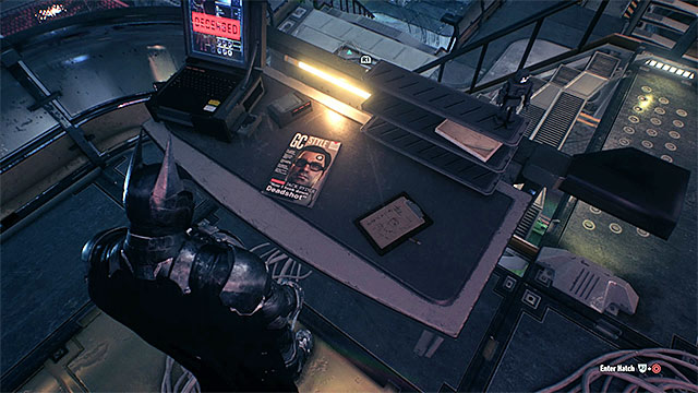 Approach the table and take a photo of the magazine - Riddles in the Stagg Airships | Collectibles - Stagg Airships - Collectibles - Stagg Airships - Batman: Arkham Knight Game Guide & Walkthrough