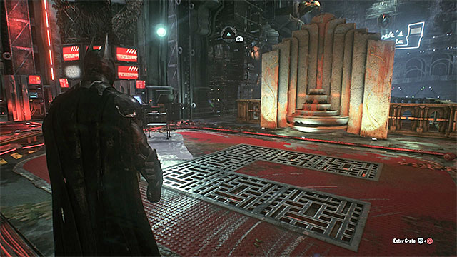 Stand in the central part of the base and jump into the shafts in the floor - Riddler trophies in the Arkham Knight HQ (1-10) | Collectibles - Arkham Knight HQ - Collectibles - Arkham Knight HQ - Batman: Arkham Knight Game Guide & Walkthrough