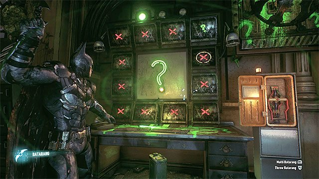 wait for the right moment to throw the batarang - Riddler trophies in the Arkham Knight HQ (11-21) | Collectibles - Arkham Knight HQ - Collectibles - Arkham Knight HQ - Batman: Arkham Knight Game Guide & Walkthrough