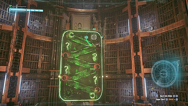 Use the batmobiles board cannons to hit the green question marks that raise the blockades - Riddler trophies in the Arkham Knight HQ (11-21) | Collectibles - Arkham Knight HQ - Collectibles - Arkham Knight HQ - Batman: Arkham Knight Game Guide & Walkthrough