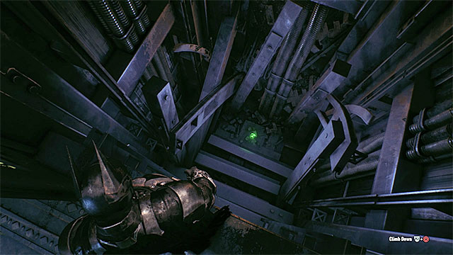 The trophy is at the bottom of the elevator shaft - Riddler trophies in the Arkham Knight HQ (11-21) | Collectibles - Arkham Knight HQ - Collectibles - Arkham Knight HQ - Batman: Arkham Knight Game Guide & Walkthrough