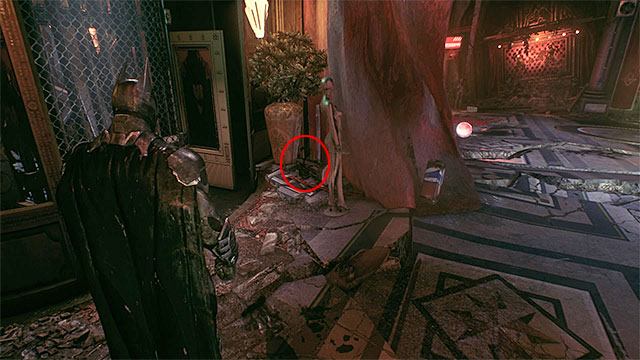 After you exit the elevator, check out the area on the left - Riddler trophies in the Arkham Knight HQ (11-21) | Collectibles - Arkham Knight HQ - Collectibles - Arkham Knight HQ - Batman: Arkham Knight Game Guide & Walkthrough