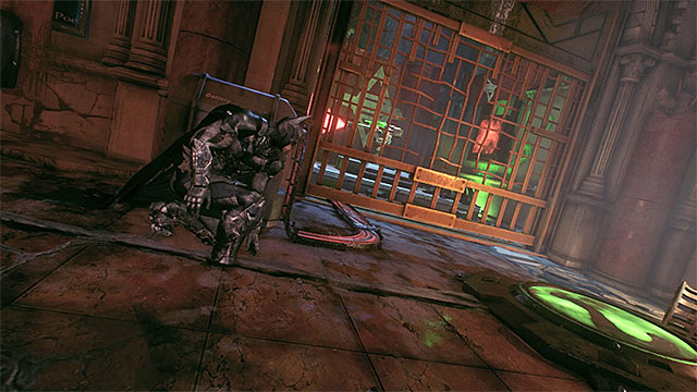 Hack the turret before you walk onto the plate - Riddler trophies in the Arkham Knight HQ (11-21) | Collectibles - Arkham Knight HQ - Collectibles - Arkham Knight HQ - Batman: Arkham Knight Game Guide & Walkthrough