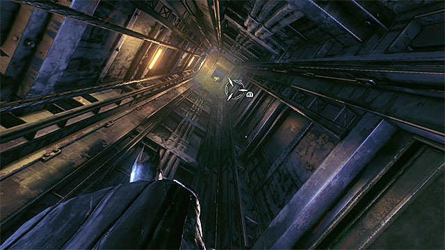 Use the elevator shaft only after you have hacked or destroyed the turret - Riddler trophies in the Arkham Knight HQ (11-21) | Collectibles - Arkham Knight HQ - Collectibles - Arkham Knight HQ - Batman: Arkham Knight Game Guide & Walkthrough