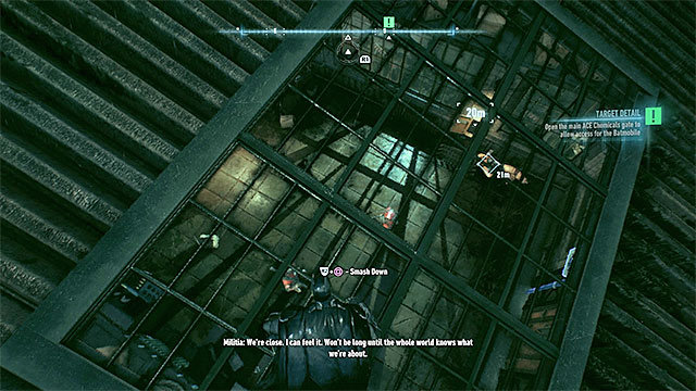 The mechanism that controls the gate is located close to it, in a room with several enemies inside. - Open the main ACE Chemicals gate | Main story - Main story - Batman: Arkham Knight Game Guide & Walkthrough