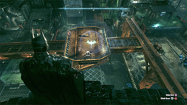 Attack the enemies standing on the platform from above. - Rescue the missing ACE Chemicals workers (continued) | Main story - Main story - Batman: Arkham Knight Game Guide & Walkthrough