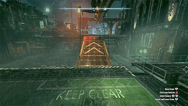 After the battle is over, approach the mechanism that controls the crane and start moving the ramp attached to it - Rescue the missing ACE Chemicals workers (continued) - Main story - Batman: Arkham Knight - Game Guide and Walkthrough