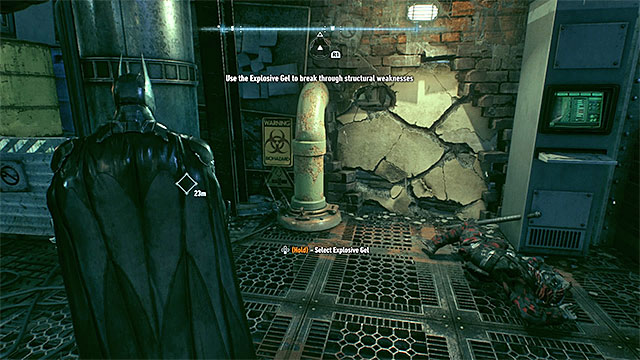 The place where you use Explosive Gel for the first time. - Rescue the missing ACE Chemicals workers (continued) - Main story - Batman: Arkham Knight - Game Guide and Walkthrough