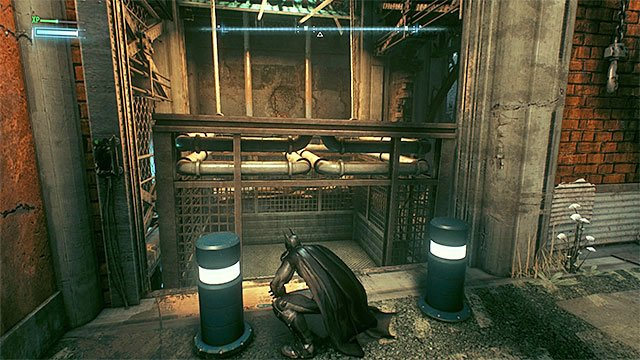 Enter the elevator after you raise it with the Batmobile. - Rescue the missing ACE Chemicals workers (continued) - Main story - Batman: Arkham Knight - Game Guide and Walkthrough
