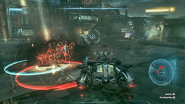 Move away from the red circles before they Arkham Knight attacks. - Destroy Arkham Knights flying machine | Main story - Main story - Batman: Arkham Knight Game Guide & Walkthrough