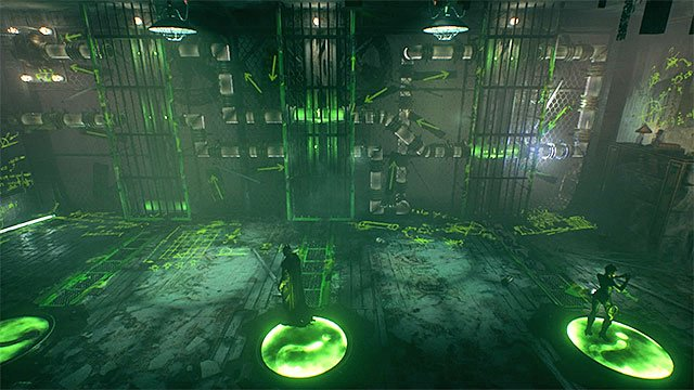 Batman needs to walk over to the central pressure plate - Sixth Riddler trial - Riddles and challenges - Batman: Arkham Knight Game Guide & Walkthrough