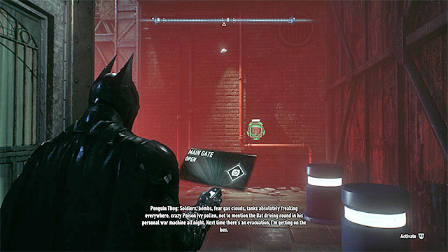 The panel that you need to break into, to open the gate. - Gunrunner | Side missions (Most Wanted) - Side missions (Most Wanted) - Batman: Arkham Knight Game Guide & Walkthrough
