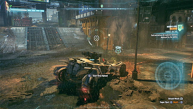 You must use the winch before and after the battle - Campaign for Disarmament - Side missions (Most Wanted) - Batman: Arkham Knight - Game Guide and Walkthrough