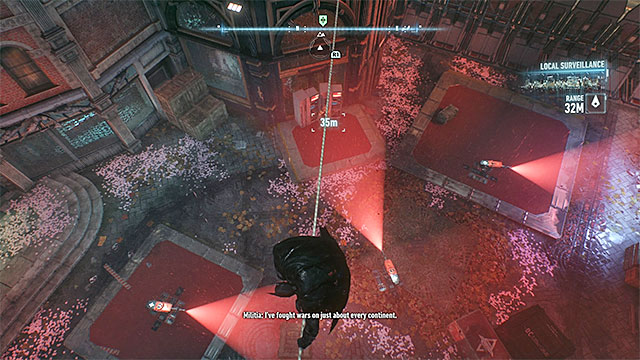 Stop above the stationary turret and wait until it will be safe to land next to it - Own the Roads - Side missions (Most Wanted) - Batman: Arkham Knight - Game Guide and Walkthrough