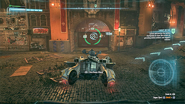 Point 4 - In addition to the enemies fully equipped with weapons, defense turrets can be found on the checkpoint territory - Own the Roads - Side missions (Most Wanted) - Batman: Arkham Knight - Game Guide and Walkthrough