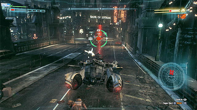 Watch out for Deathstrokes tanks attacks - use dodge and Vulcan cannon to avoid taking damage - Deathstroke | Boss fights - Boss fights - Batman: Arkham Knight Game Guide & Walkthrough