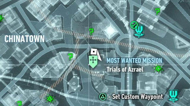 Another burning bat sign can be found on the roof in the Chinatown district on Bleake Island - Heir to the Cowl | Side missions (Most Wanted) - Side missions (Most Wanted) - Batman: Arkham Knight Game Guide & Walkthrough