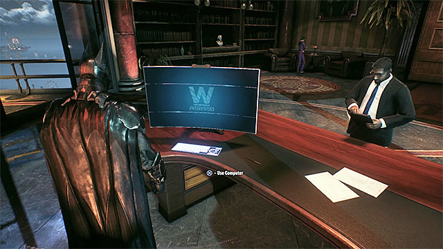 Use the computer in Bruce Waynes office. - Analyze the Arkham Knights encryption protocols | Main story - Main story - Batman: Arkham Knight Game Guide & Walkthrough