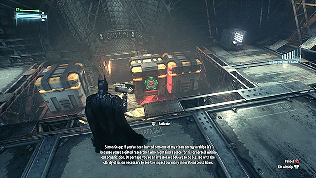 Head straight and stop in the room with three new crates - Infiltrate the first airship | Main story - Main story - Batman: Arkham Knight Game Guide & Walkthrough