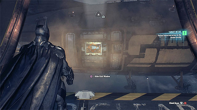 Glide toward the glass wall of the second airship - Infiltrate the second airship | Main story - Main story - Batman: Arkham Knight Game Guide & Walkthrough