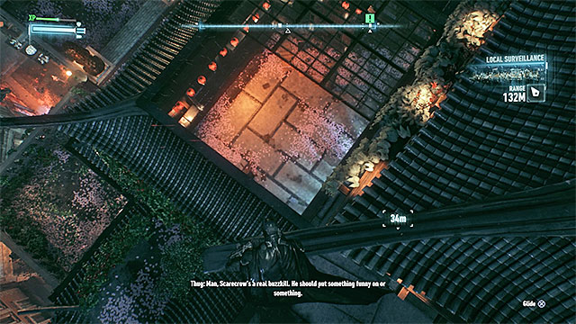 Enter the hideout through the hole in the roof - Rescue Oracle from Scarecrows hideout - Main story - Batman: Arkham Knight - Game Guide and Walkthrough